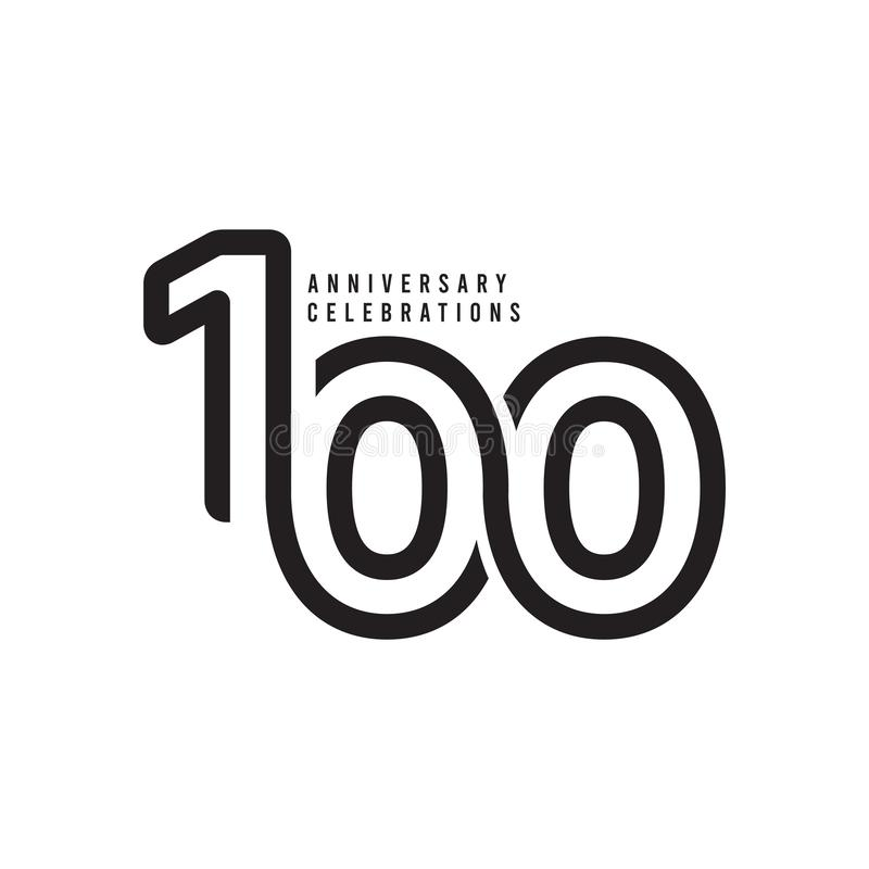 100 Years Anniversary Celebrations Vector Template Design Illustration. Advertisement, corporate, greeting, ten, isolated, jubilee, text, marriage, ceremony vector illustration