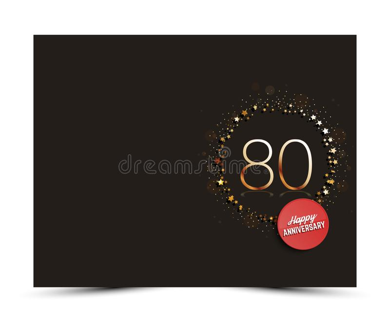 80 years anniversary decorated card template with gold elements. royalty free illustration