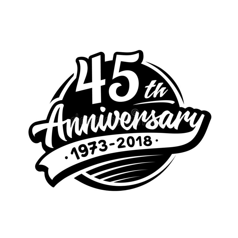 45 years anniversary design template. Vector and illustration. 45th logo. royalty free illustration
