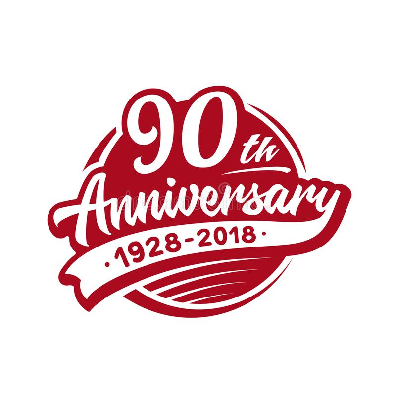 90 years anniversary design template. Vector and illustration. 90th logo. stock illustration