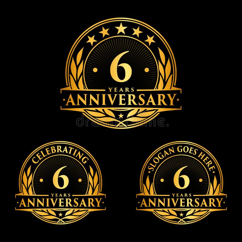 6 years anniversary design template. Anniversary vector and illustration. 6th logo. royalty free illustration