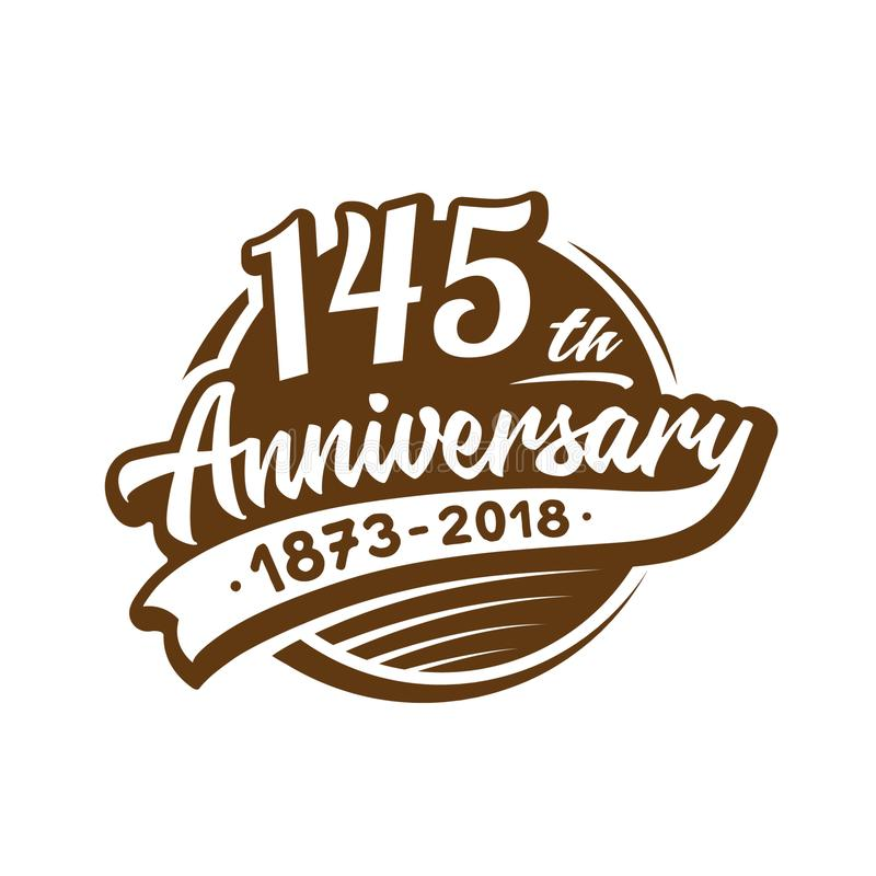 145 years anniversary design template. Vector and illustration. 145th logo. stock illustration