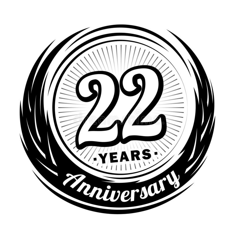 22 years anniversary. Elegant anniversary design. 22nd logo. 22 years anniversary celebration design template. Twenty-two years celebrating vector and stock illustration