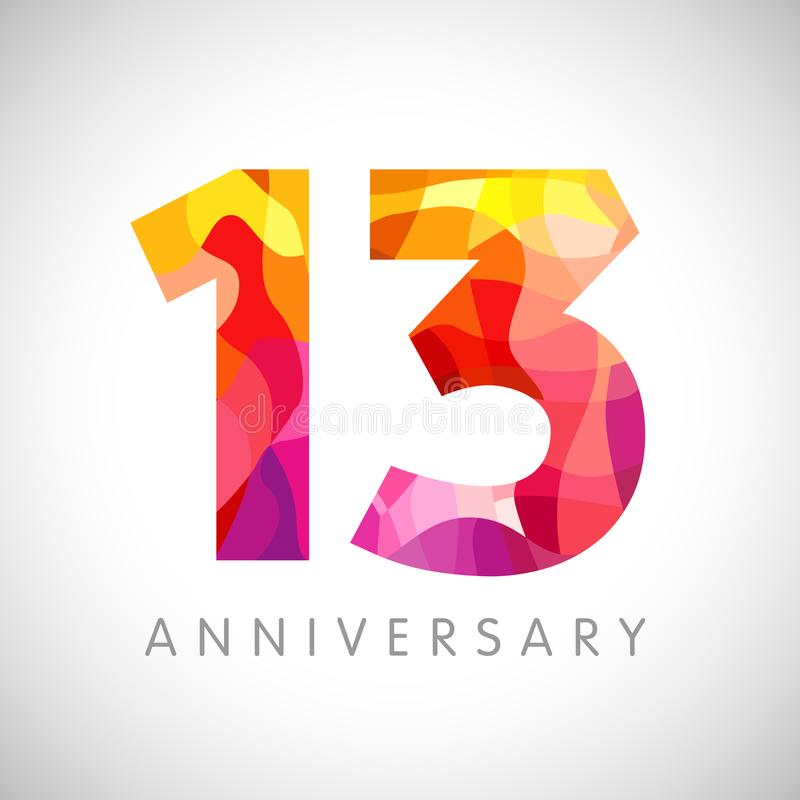 13 years anniversary facet logo. 13 th anniversary numbers. 13 years old multicolored logotype. Age congrats, congratulation art idea. Isolated abstract graphic vector illustration