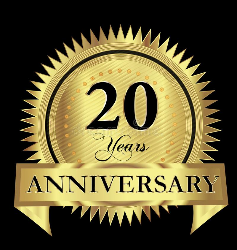 20 years anniversary gold seal logo vector design stock illustration
