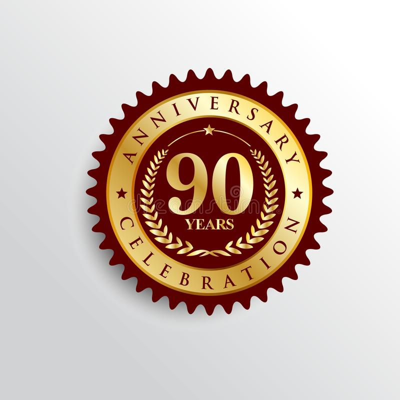 90 Years anniversary Golden badge logo. vector illustration