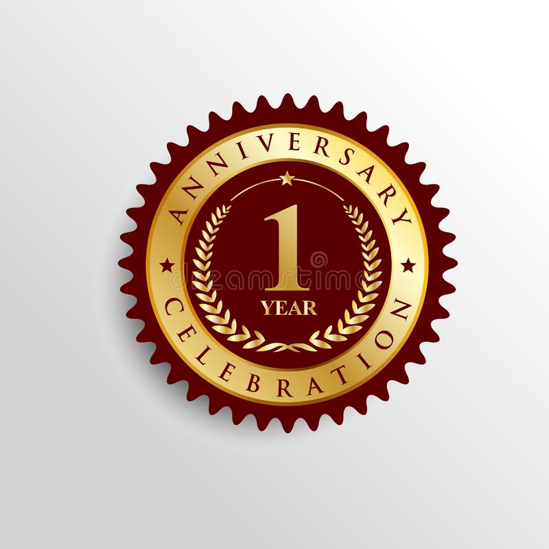 1 Years anniversary Golden badge logo. royalty free illustration