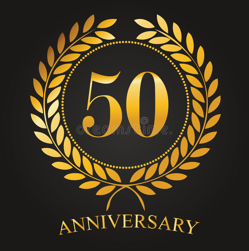 50 Years Anniversary Golden Label vector illustration
