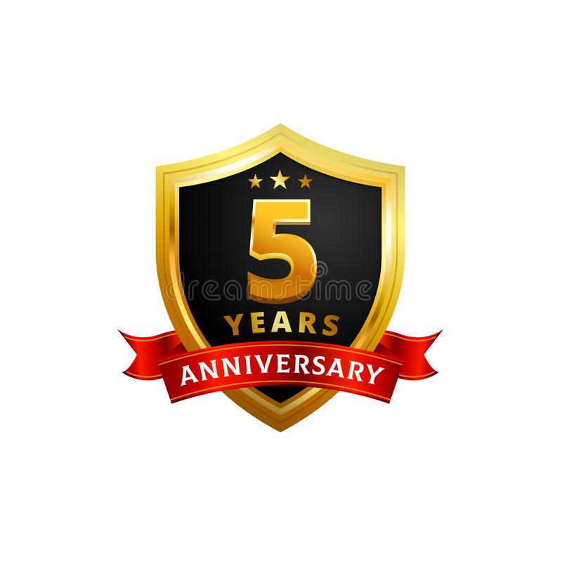 5 years anniversary golden shield badge logo with ribbon vector illustration