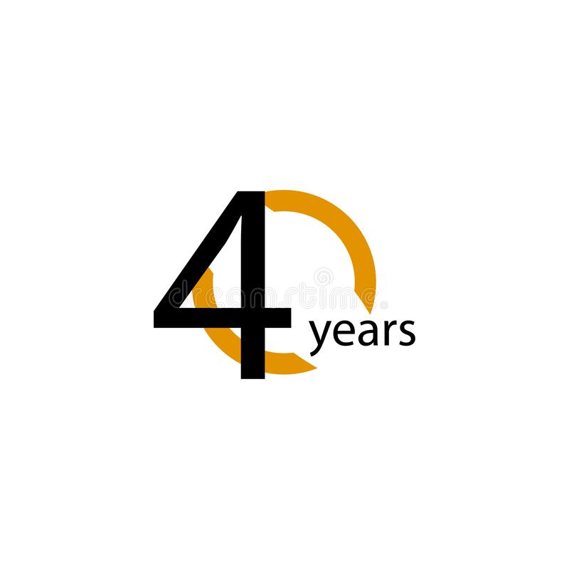 40 Years Anniversary Half Circle Vector Template Design Illustration. Retro, golden, advertisement, corporate, greeting, text, ribbon, marriage, ceremony royalty free illustration