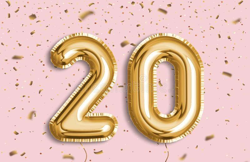 20 Years golden Foil Balloon anniversary logotype. 20 years anniversary. Happy birthday joy celebration.Gold balloons & confetti for greeting card, banner royalty free stock photos