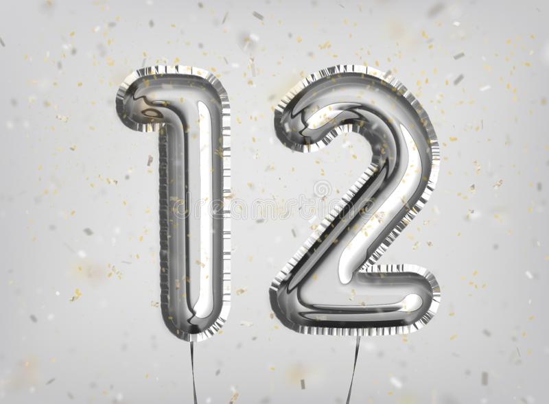 12 years anniversary. Happy birthday joy celebration. Silver balloons & confetti for greeting card, banner, birthday invitation, celebrate anniversary. 12 Years stock images