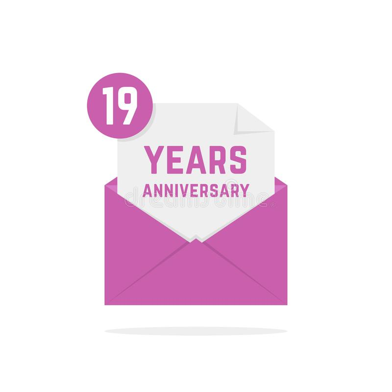 19 years anniversary icon in lilac open letter vector illustration