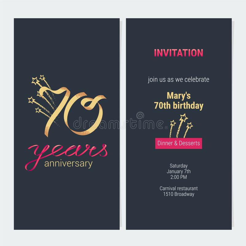 70 years anniversary invitation card vector stock vector 70 years anniversary invitation to celebrate vector illustration design template element with golden number and text for 70th birthday card party invite stopboris Gallery