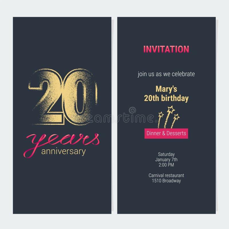 20 years anniversary invitation vector card stock vector download 20 years anniversary invitation vector card stock vector illustration of element glitter stopboris Images