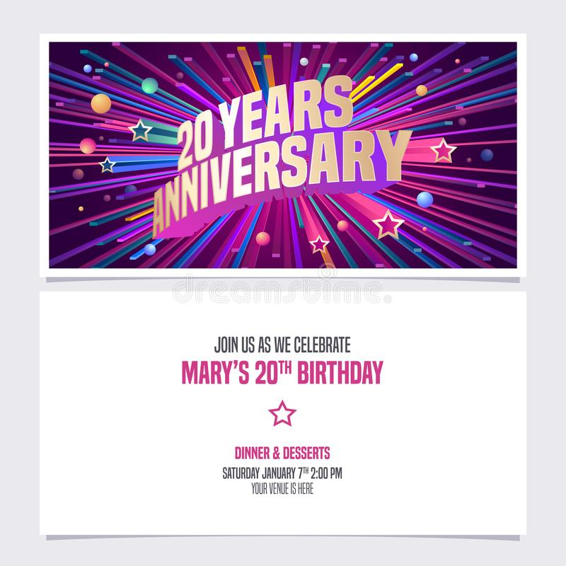 20 years anniversary invitation vector illustration. Graphic design element stock illustration