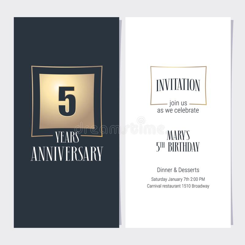 5 years anniversary invitation vector illustration stock 5 years anniversary invitation vector illustration graphic design template with golden element for 5th anniversary party or dinner invite stopboris Image collections