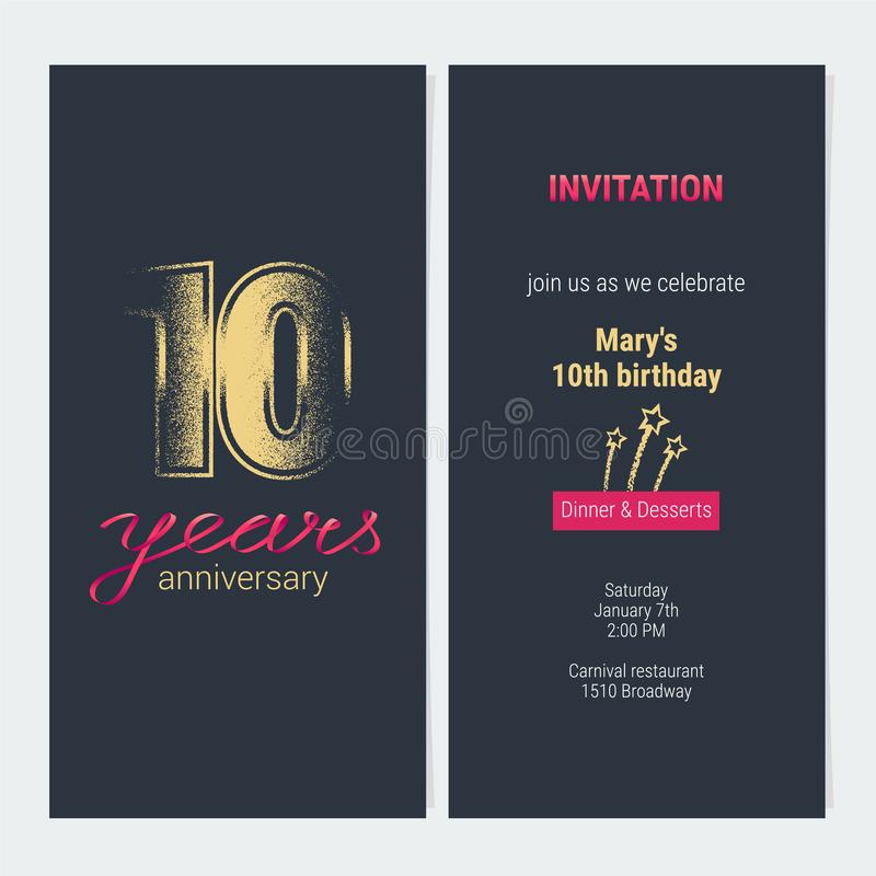 10 years anniversary invitation vector card stock vector download 10 years anniversary invitation vector card stock vector illustration of isolated celebration stopboris Image collections