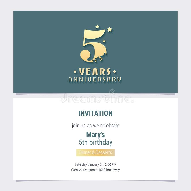 5 years anniversary invitation vector illustration stock vector download 5 years anniversary invitation vector illustration stock vector illustration of isolated gift stopboris Image collections