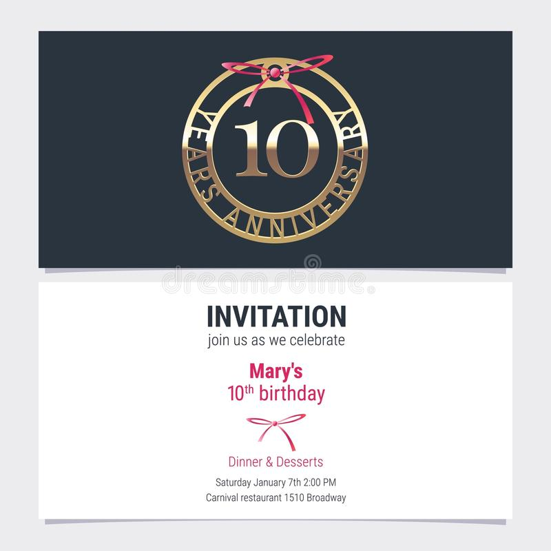 10 years anniversary invitation vector stock illustration 10 years anniversary invitation to celebration event vector illustration design element with number and text for 10th birthday card party invite stopboris Image collections