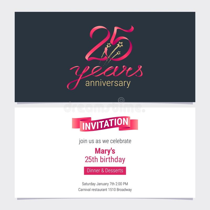 25 years anniversary invite vector illustration stock vector download 25 years anniversary invite vector illustration stock vector illustration of fifth emblem stopboris Images