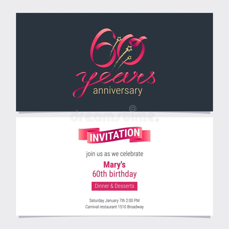 60 years anniversary invite vector illustration stock vector download 60 years anniversary invite vector illustration stock vector illustration of award festive stopboris Gallery