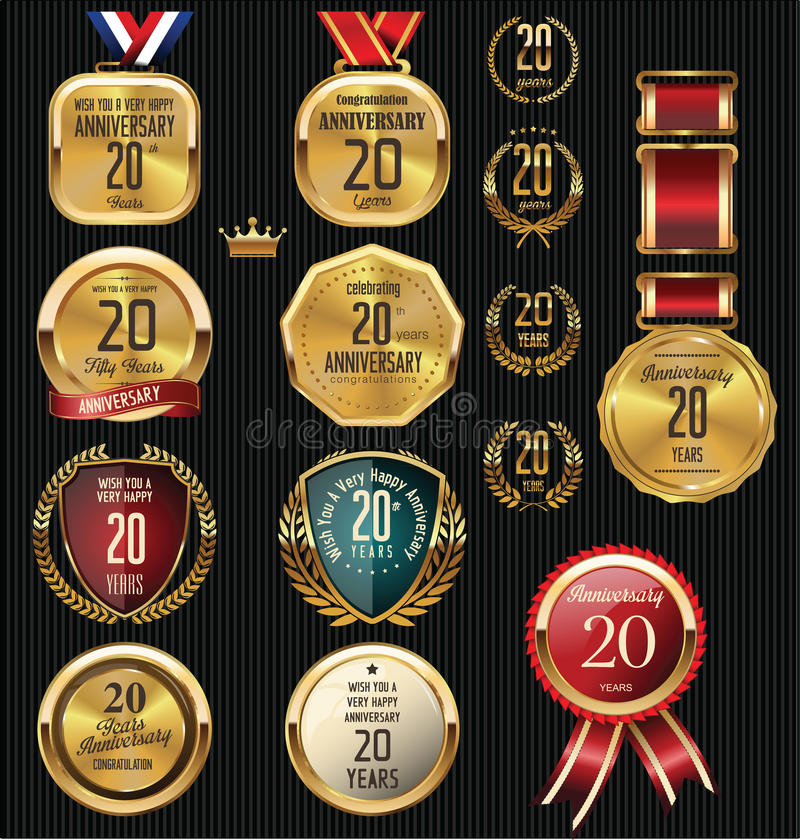 Anniversary Badges, Signs And Emblems Collection In