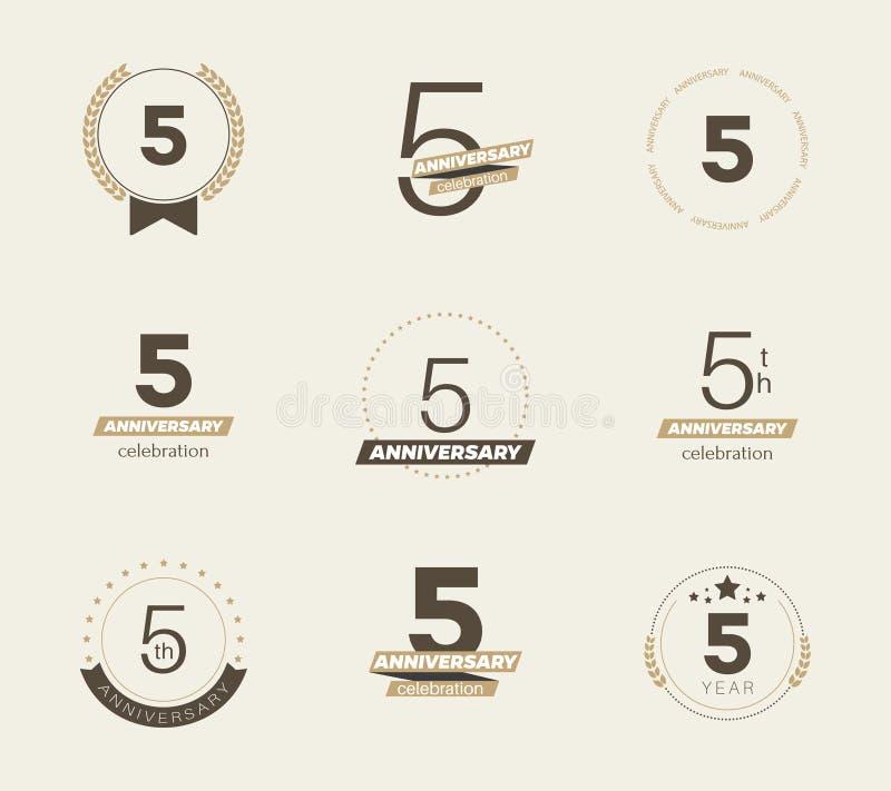 5 Years Anniversary Logo Set 5th Anniversary Icons Stock Vector
