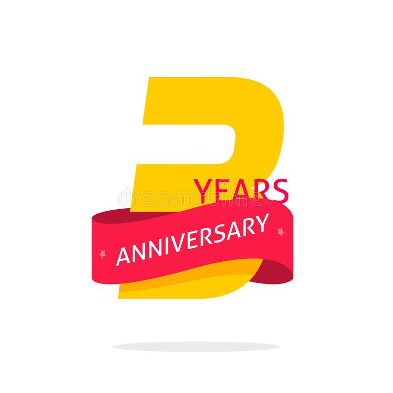 3 years anniversary logo template isolated on white, number 3 anniversary icon label with red ribbon, three year stock illustration