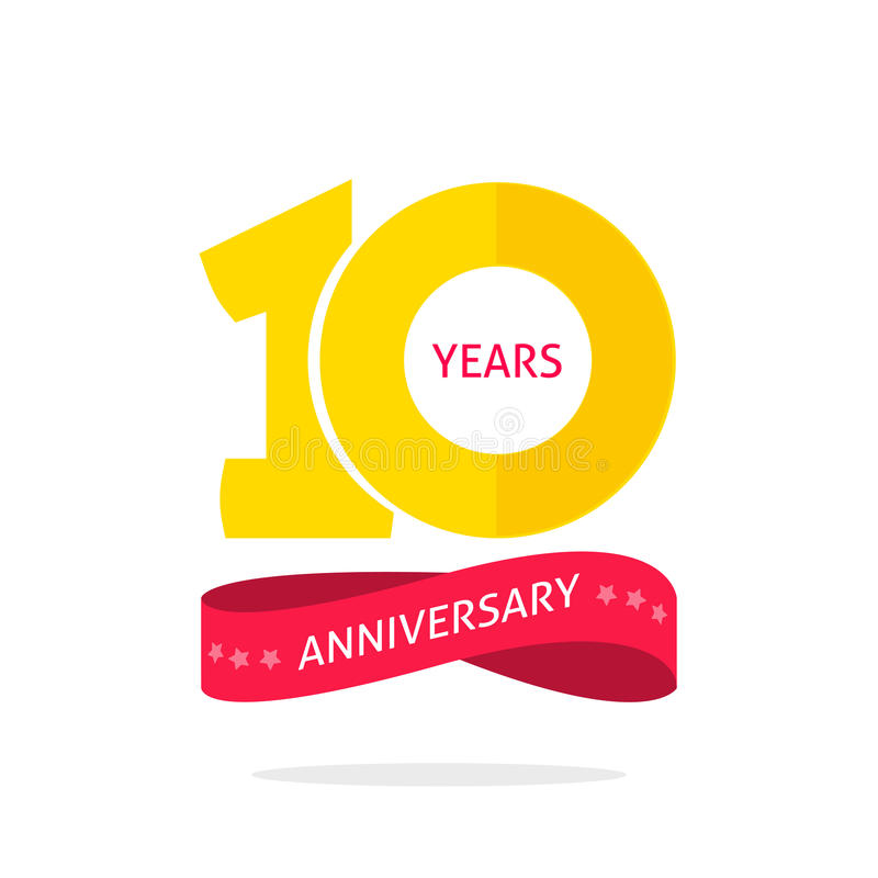 10 years anniversary logo template 10th anniversary icon label ten year birthday party symbol - Th anniversary symbol ...