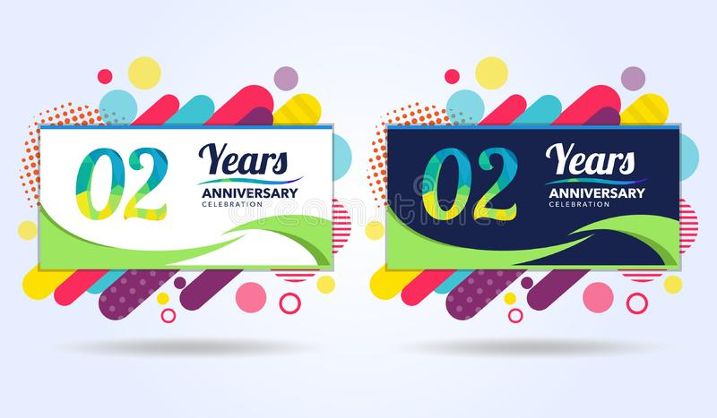 02 years anniversary with modern square design elements, colorful edition, celebration template design, pop celebration template stock illustration