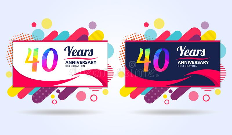 40 years anniversary with modern square design elements, colorful edition, celebration template design, pop celebration template vector illustration
