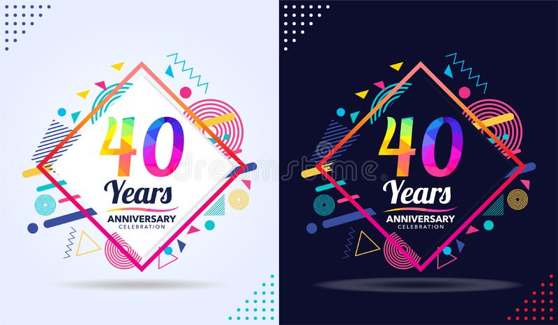 Years anniversary with modern square design elements, colorful edition, celebration template design, white and black background royalty free illustration