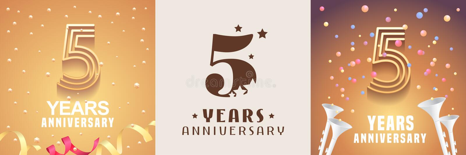 5 years anniversary set of vector icon, symbol. Graphic design element. With festive golden background for 5th anniversary stock illustration