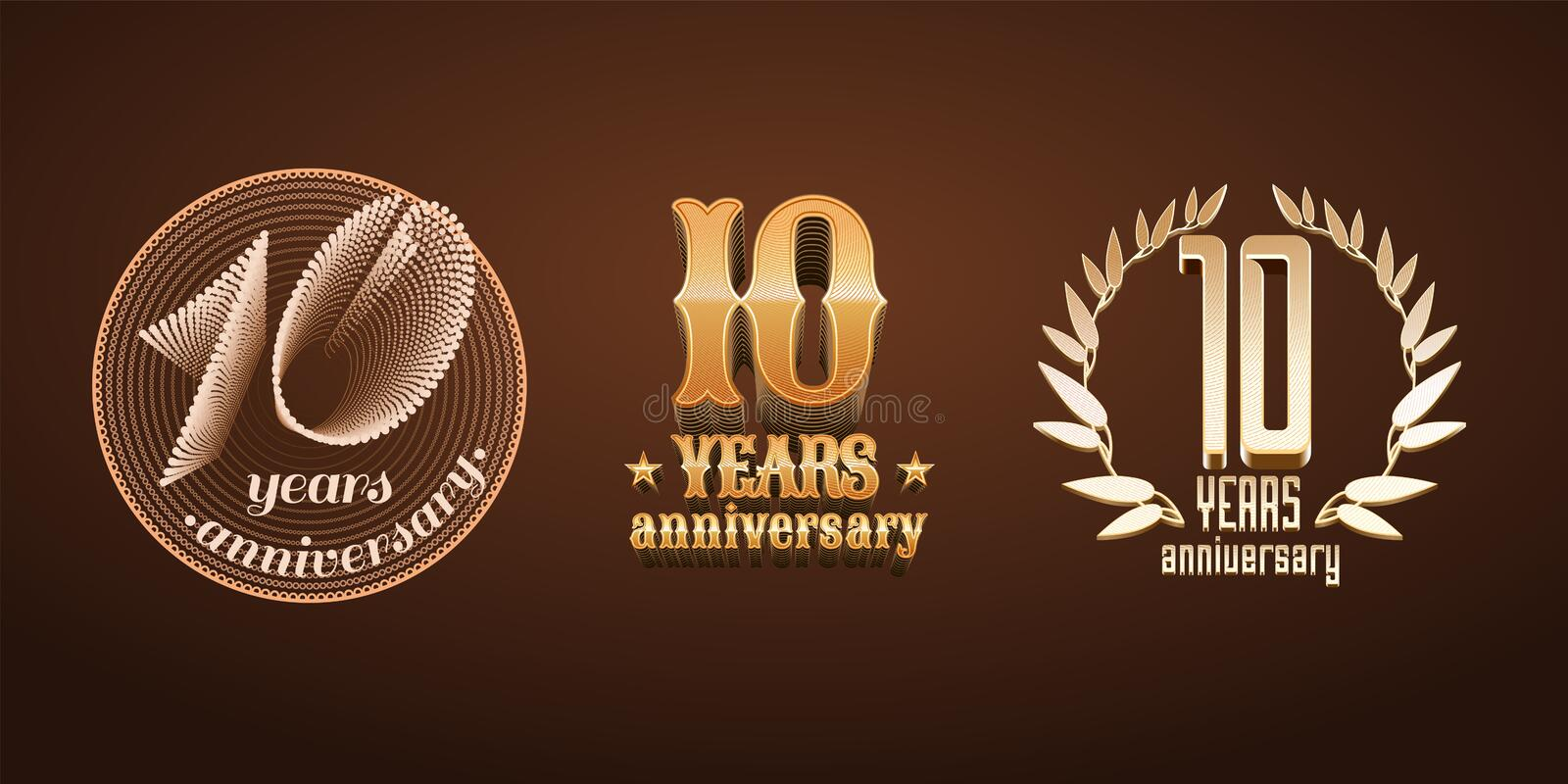 10 years anniversary set of vector logo, icon, number vector illustration