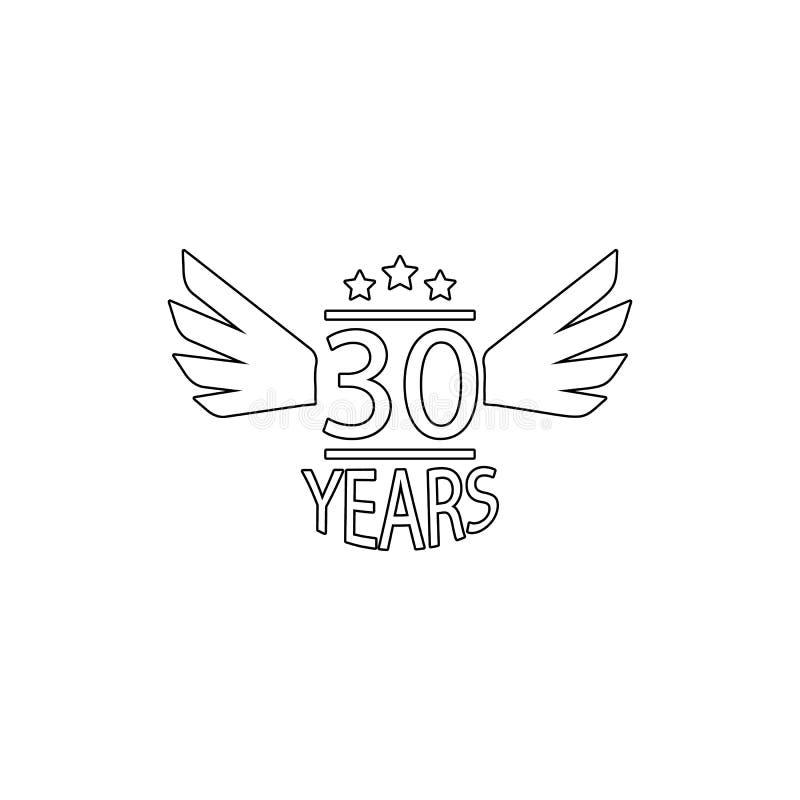 30 Year Anniversary Symbol: 30th Anniversary Design Template. 30 Years Logo. Thirty