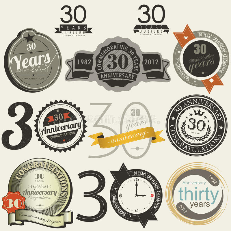 Download 30 Years Anniversary Signs And Cards  Design Stock Images - Image: 29802174