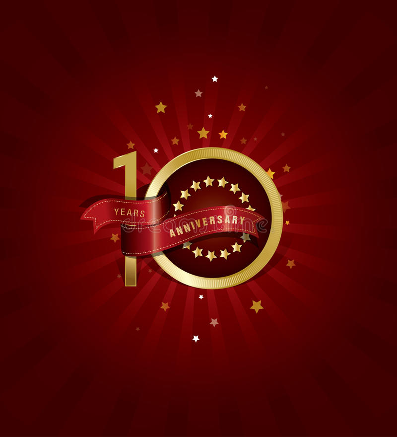 10 years anniversary template design with red abstract background royalty free illustration