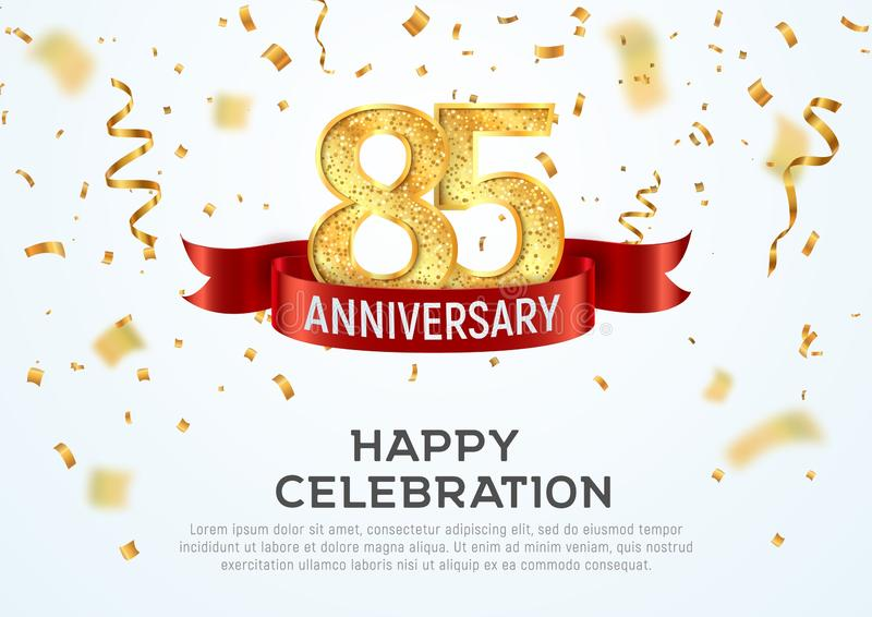 85 years anniversary vector banner template. Eighty-five year jubilee with red ribbon and confetti on white background stock illustration
