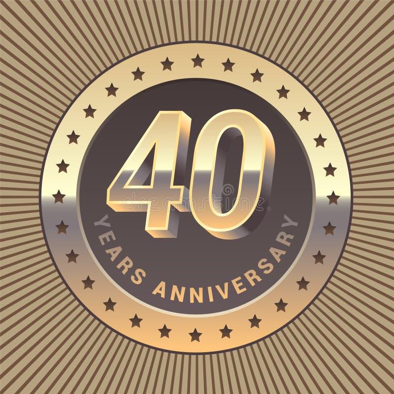 40 years anniversary vector icon, logo royalty free illustration