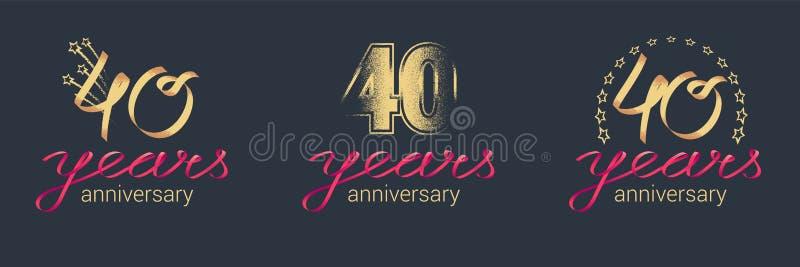 40 years anniversary vector icon, logo set vector illustration