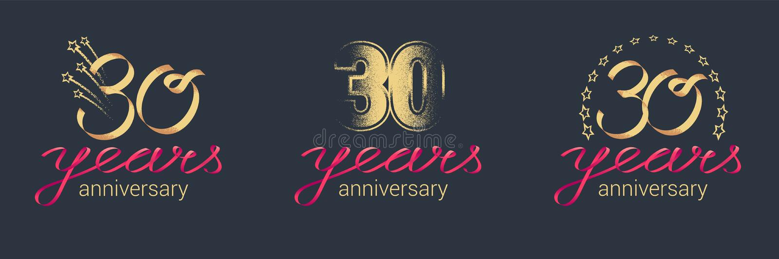 30 years anniversary vector icon, logo set royalty free illustration