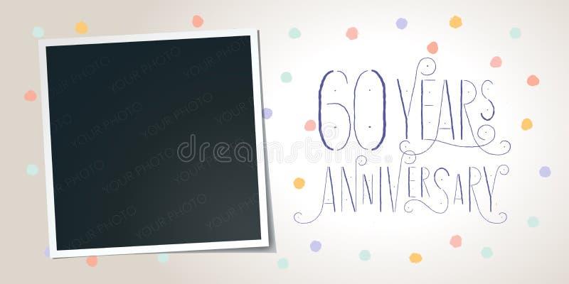 60 years anniversary vector icon, logo. Template design element vector illustration