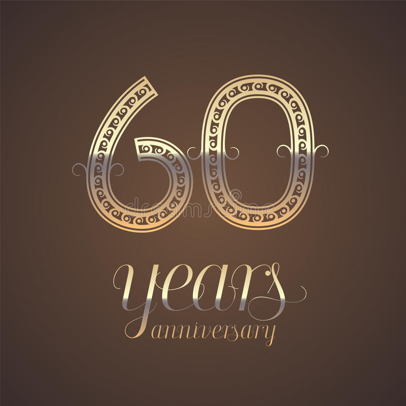 60 Years Anniversary Vector Icon Symbol Stock Vector Illustration