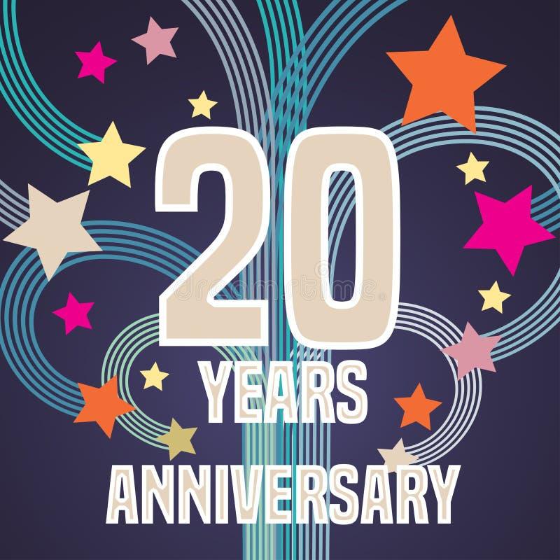 20 Years Anniversary Vector Illustration Banner Flyer Icon Stock