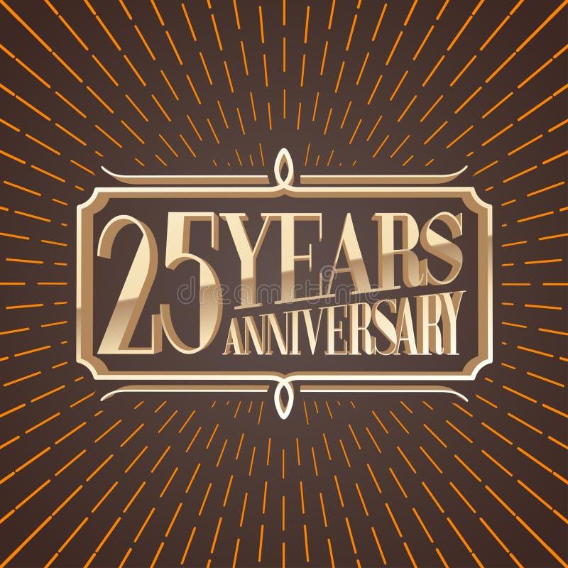 25 years anniversary vector illustration, icon, logo. Decorative graphic design element for 25th anniversary birthday greeting card stock illustration