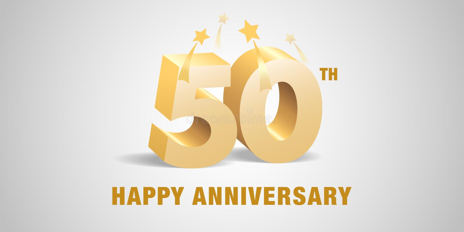 50 years anniversary vector logo, icon. Template banner, symbol with 3d golden numbers vector illustration