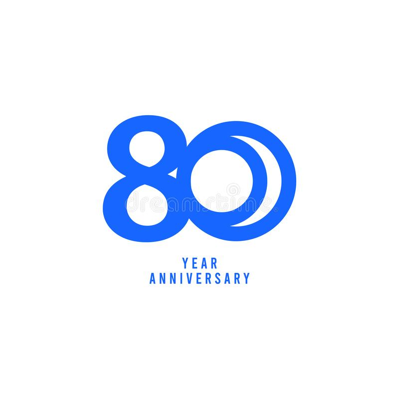 80 Years Anniversary Vector Template Design Illustration. Advertisement, corporate, greeting, ten, isolated, jubilee, text, marriage, ceremony, gold, luxury royalty free illustration