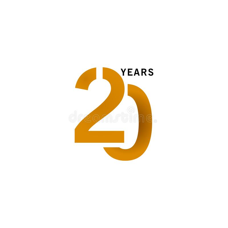 20 Years Anniversary Vector Template Design illustration. Advertisement, corporate, greeting, ten, isolated, jubilee, text, marriage, ceremony, gold, luxury vector illustration