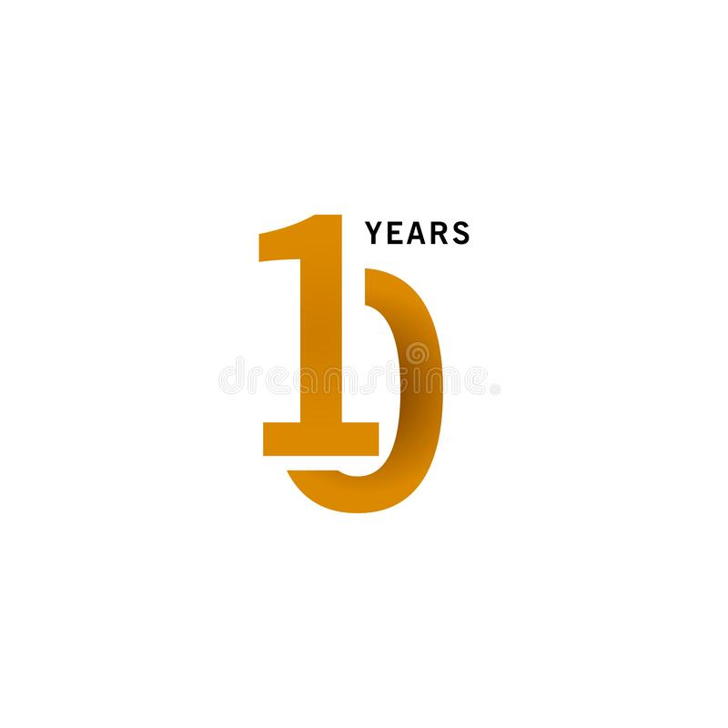 10 Years Anniversary Vector Template Design illustration. Advertisement, corporate, greeting, ten, isolated, jubilee, text, marriage, ceremony, gold, luxury royalty free illustration